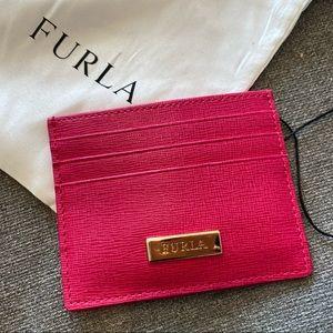 NWT Furla Zama Card holder in Glass(pink)